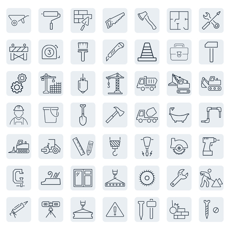 Outline web icons set - building, construction and home repair tools Illustration