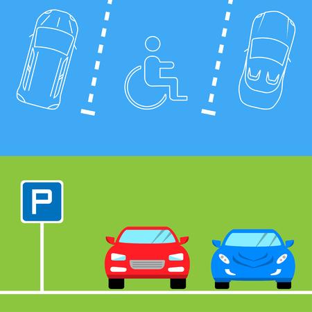 silhouette voiture: bannières de stationnement dans un style plat, illustration vectorielle.