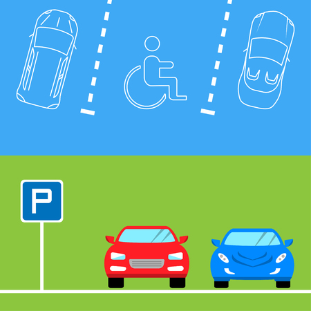 a lot: Parking banners in flat style , vector illustration.