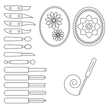 carving: Knife and operating tool for carving. Vector illustration