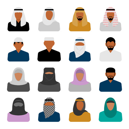 middle eastern: Vector Middle Eastern people icons in flat style Illustration