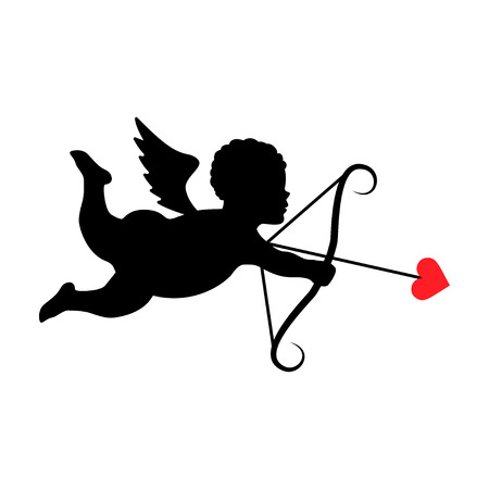 Silhouette of cupid.Vector illustration