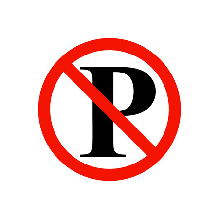parking is prohibited: No parking prohibiting sign. Illustration