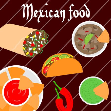 Mexican food banner.Vector illustration Illustration