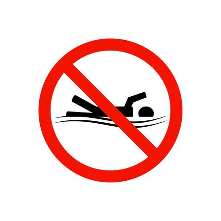 no swimming: Prohibiting sign.