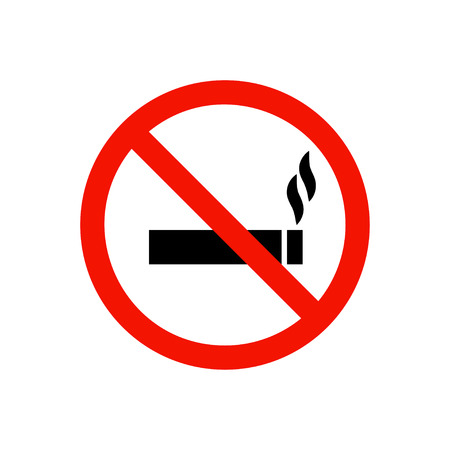 red sign: No smoking prohibiting sign. Illustration