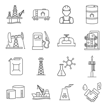 Oil industry gasoline processing symbols icons set.
