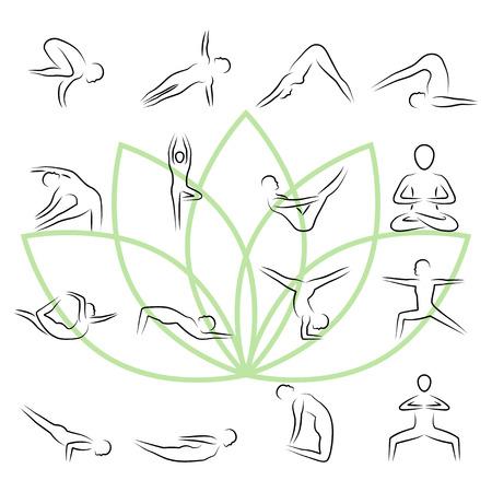 joga: Yoga poses icon set in thin line style Illustration
