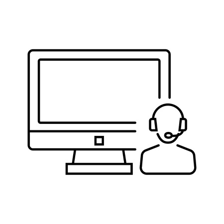 administrator: Call center, system administrator icon in thin line style. Vector illustration. Vector symbol.