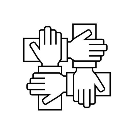 Team werk pictogram in dunne lijn stijl. Vector symbool. vector illistration