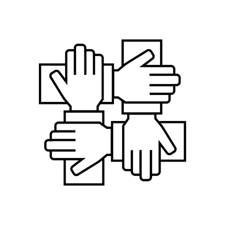hands together: Team work icon in thin line style. Vector symbol. Vector illistration