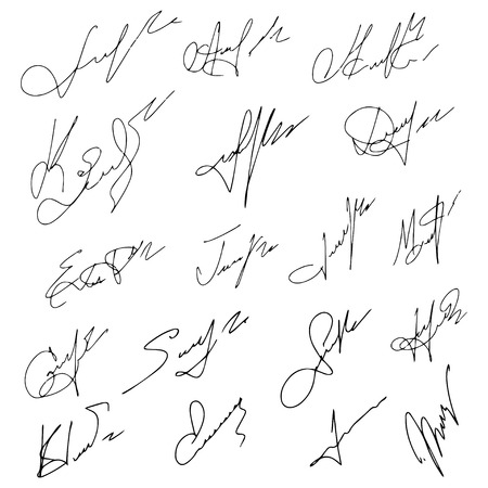 official: Signatures set, vector illustration,hand drawn. Illustration