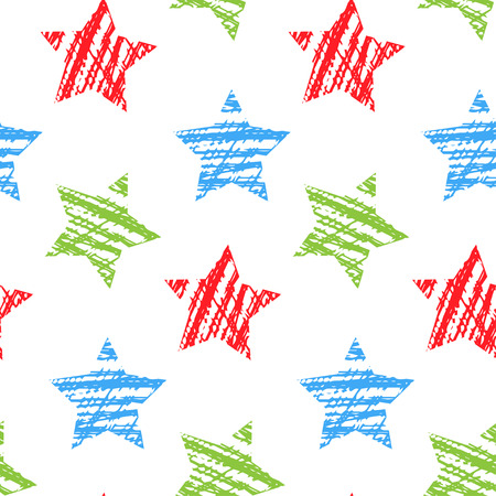 Seamless pattern with stars. Vector illustration. Hand drawn. 向量圖像