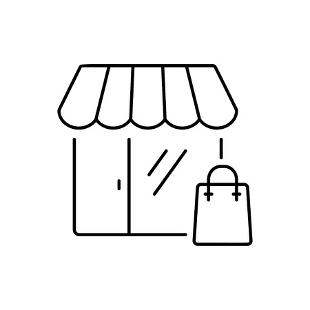 paperbag: Shopping icon in thin line style. Vector illustration. Vector symbol.