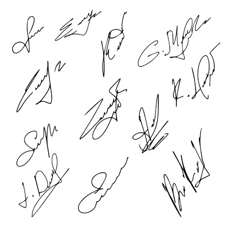 signatures: Signatures set, vector illustration,hand drawn. Illustration