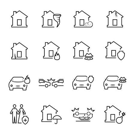 subsidence: Insurance and accidents icon.Vector symbols. Vector illustration Illustration