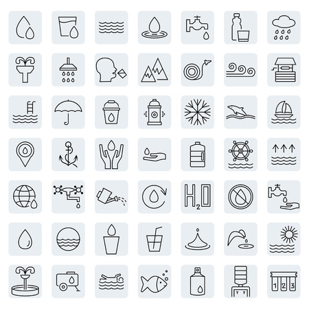Water icon set in thin line style. Vector illustration. Vector symbol.