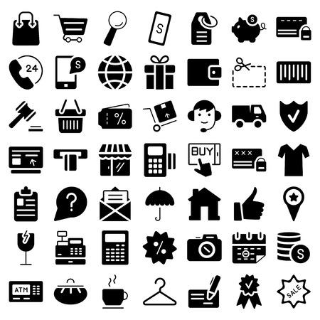 E-commerce. Flat web icons set. Vector symbols. Vector illustration 矢量图像