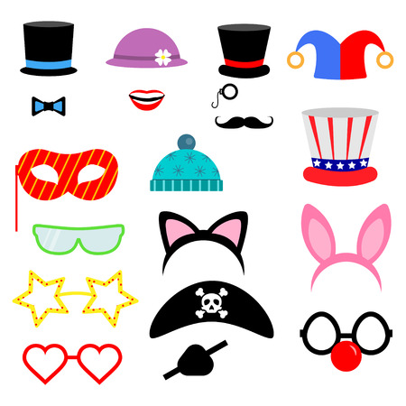 props: Party Birthday photo booth props. . Vector illustration.Flat collection