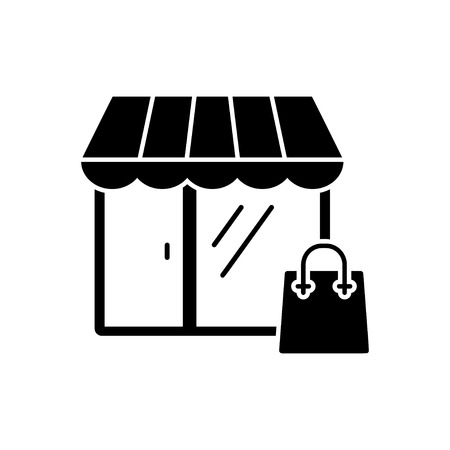 paperbag: Shopping icon in flat style. Vector illustration. Vector symbol.