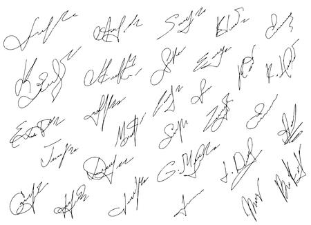 somebody: Signatures set, illustration,hand drawn. Illustration