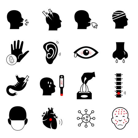 Sick icon set. Medical symbol.