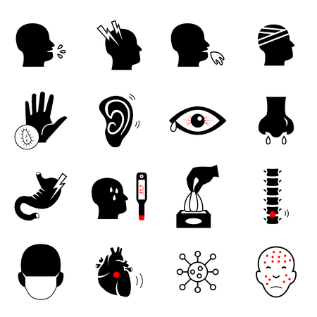 medical symbol: Sick icon set. Medical symbol.