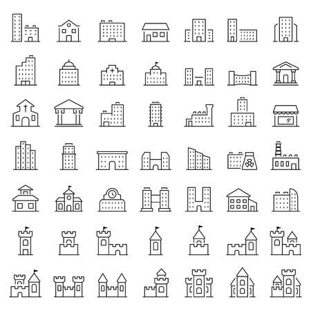 Building icon set in thin line style.