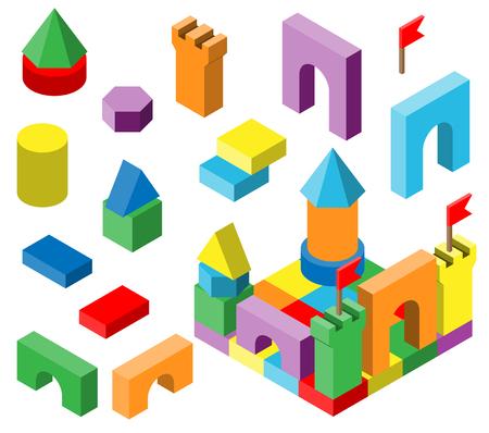 子どものカラフルな積み木。  イラスト・ベクター素材