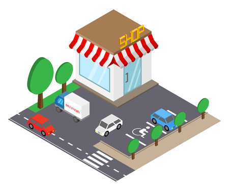 Shop building with parking place in isometric style.