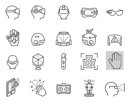 Virtual reality pictogram in dunne lijn stijl.