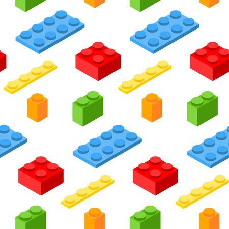 Seamless pattern with isometric plastic blocks. Illustration