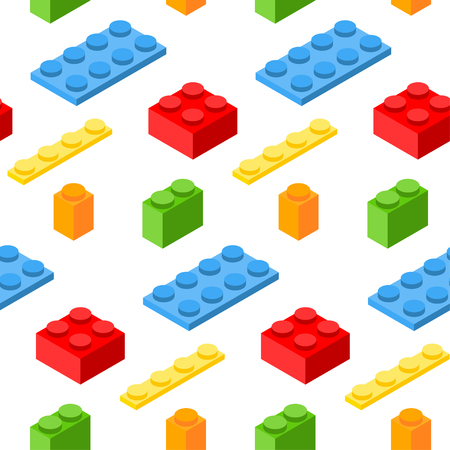 edutainment: Seamless pattern with isometric plastic blocks. Illustration