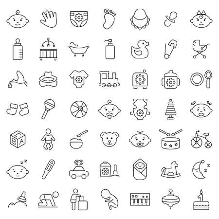 safety equipment: Baby icon set in thin line style. Vector symbols.