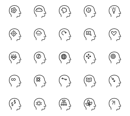 mentally: Human mind icon in thin line style. Vector symbols.