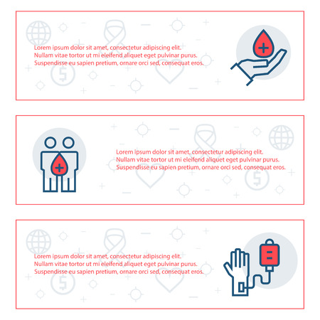 love icon: Simple banners set of charity, sponsorship,donation and donor items. Vector illustration. Illustration