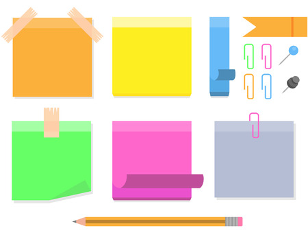 Vector collection of different colored sticky notes. Illustration