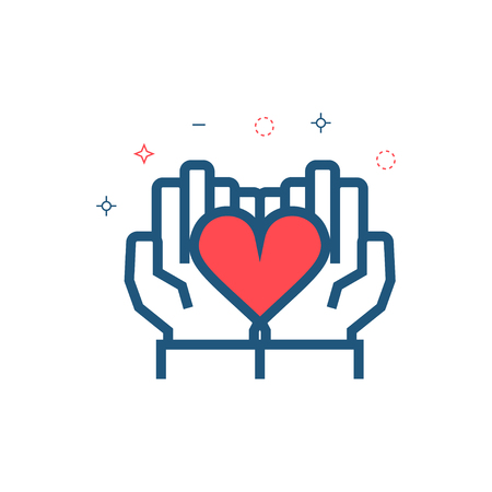 Hands and heart icon. Charity, sponsorship,donation,donor symbol.