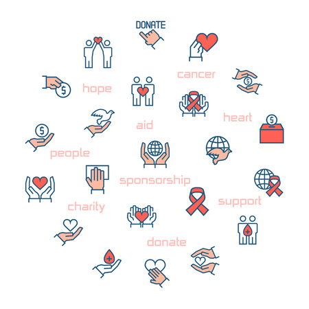 icons: Charity, sponsorship,donation and donor icons in circle. Vector illustration.