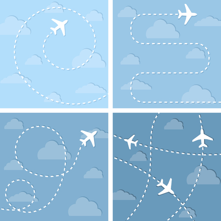rout: Four vector illustration with flight planes.