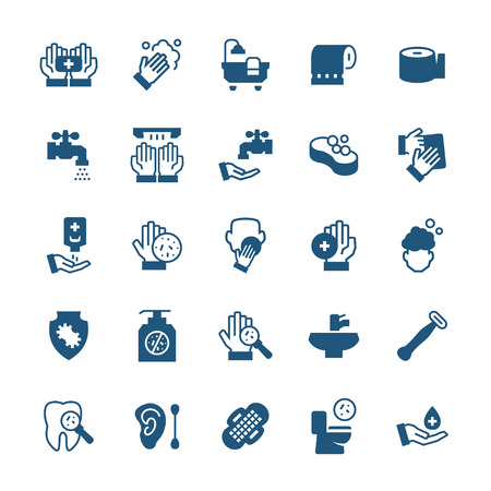 Simple icon set of hygiene items in flat style. Vector symbols.