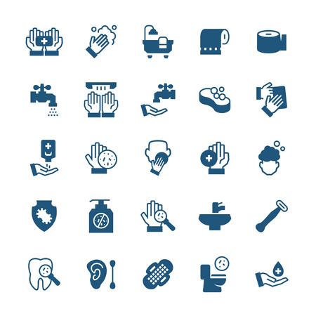simple icône ensemble d & # 39 ; articles d & # 39 ; hygiène dans le style plat. éléments de vecteur