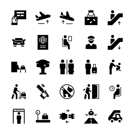 Airport icons set in flat style. Vector symbols.
