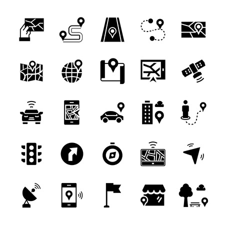 Simple icon set of navigation items in flat style. Vector symbols.