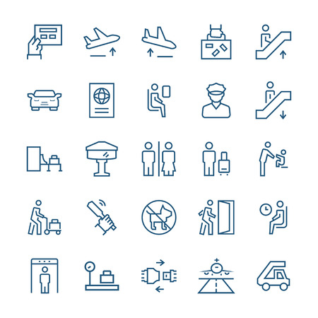 Airport icons in thin line style. Vector symbols. Illustration