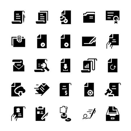 Flat vector icon set of document. Illustration