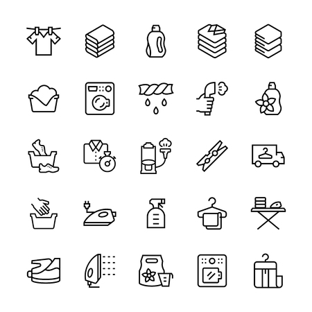 laundry service icon set in line style. Vector illustrations.