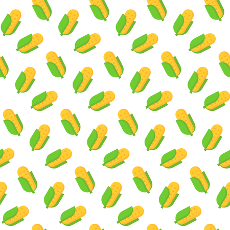 Seamless pattern with corn in flat style. Vector illustration.
