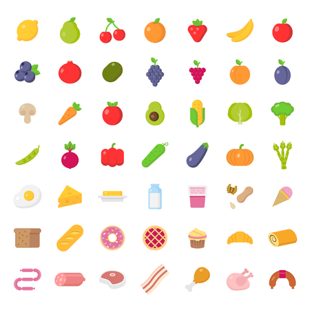 Big icons set of food in flat style.Vector illustration
