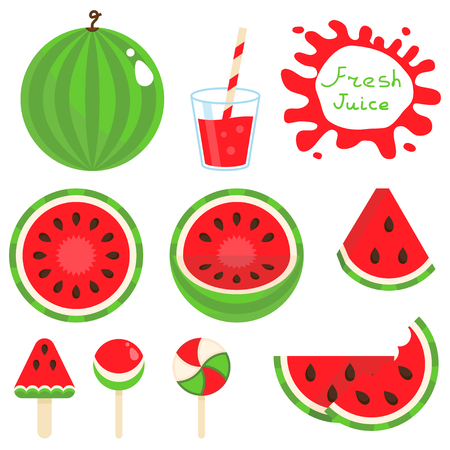 Set of watermelon vector illustration.